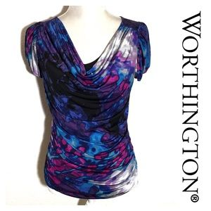 Worthington Draped Abstract Blouse